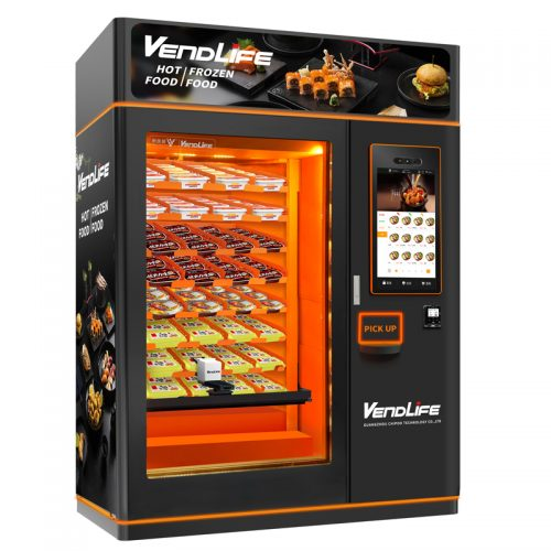 Sushi food vending machine with microwave